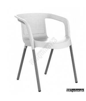 Silla terraza respaldo bajo apilable REMALTA-B color blanco