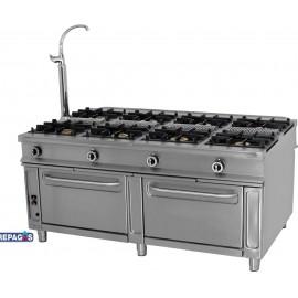 Cocina industrial Repagas C-1182 ocho quemadores de gas y dos hornos