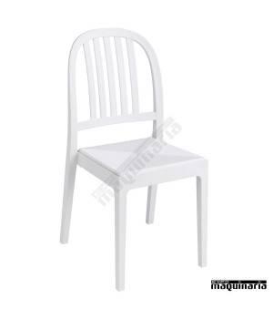 Silla apilable restaurante 1R127-P armazón y asiento blanco