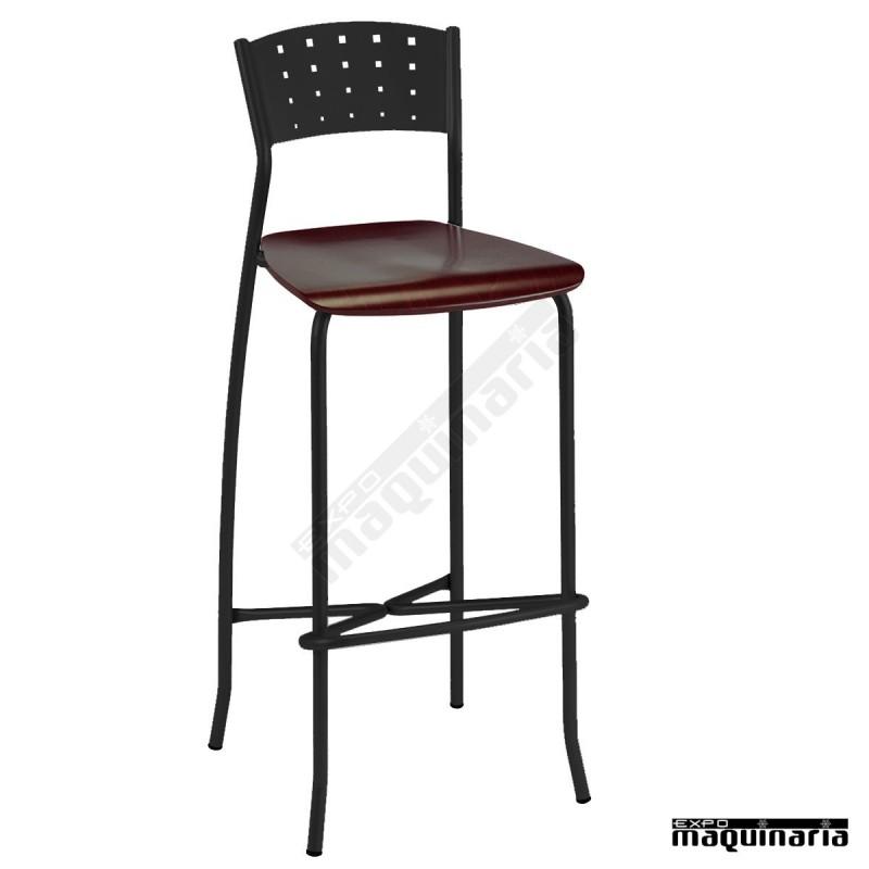 Taburete bar personalizable asiento madera 5r32ma for Taburete bar madera