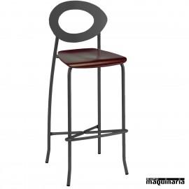 Taburete alto asiento madera 5R025MA armazón negro