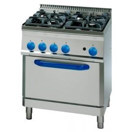 Cocina industrial a gas CLPF70GG7 con 4 quemadores y horno industrial