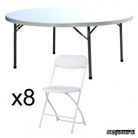 Conjunto de catering mesa redonda ZOPLANET180 + 8 sillas ZO ALEX