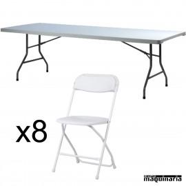 Conjunto de catering mesa rectangular ZOXXL240 + 8 sillas ZO ALEX
