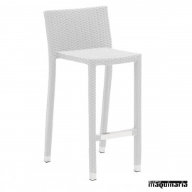 Taburete de bar apilable de rattan EZBERLIN color blanco