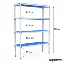 Estantería 4 niveles de aluminio y polipropileno. Fondo55.5