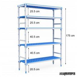 Estantería 5 niveles de aluminio y polipropileno. Fondo38.5