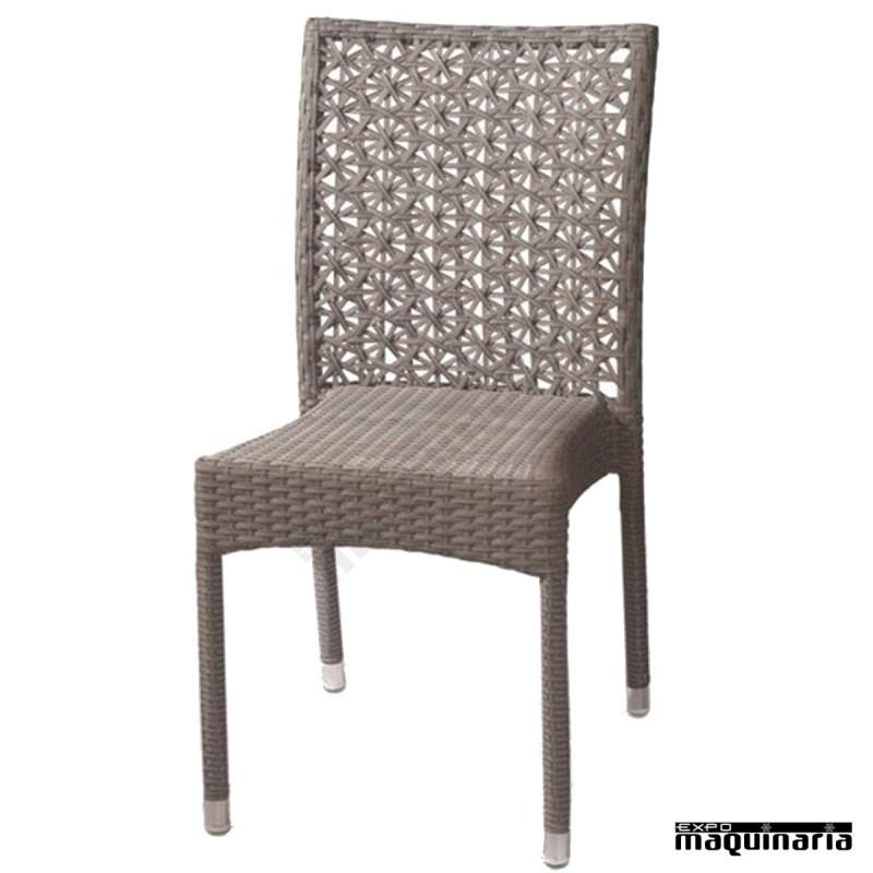 silla apilable bar de aluminio y rattan sint tico 1f342