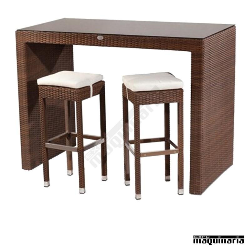 Mesa alta de rattan famodena75 con tapa de cristal - Mesas altas de bar ...
