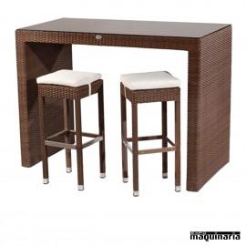 Conjunto de mesa alta + 8 taburetes de rattan
