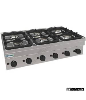 Cocina industrial a gas sin mueble CLPC105G6 con seis quemadores
