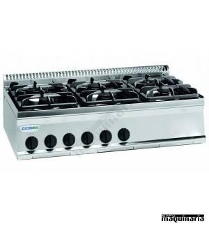 Cocina industrial a gas CLPC105G7 con seis quemadores