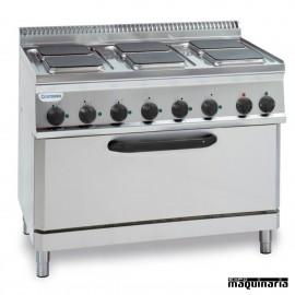 Cocina industrial electrica CLPFSX105E7 con 6 quemadores y horno