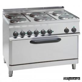 Cocina industrial electrica CLPFRX105E7 con 6 quemadores y horno