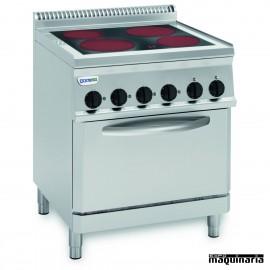 Cocina industrial electrica CLPFC70E7 de 4 placas vitroceramicas y horno