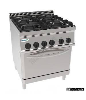 Cocina industrial a gas CLPF70G7 con 4 quemadores y horno electrico