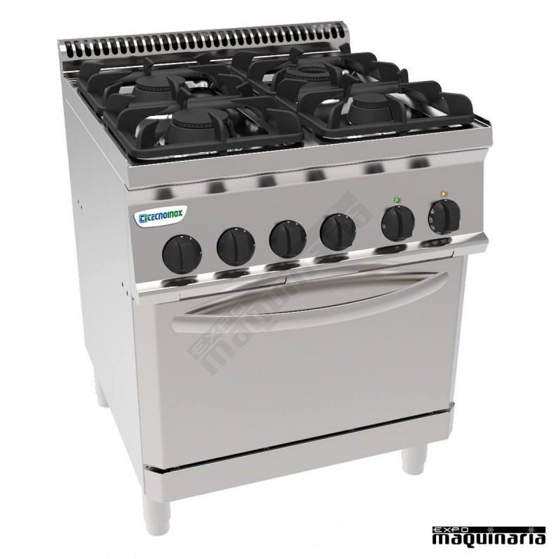 Cocina industrial a gas clpf70g7 con 4 quemadores y horno for Cocinas con horno electrico