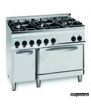Cocina industrial a gas CLPF105G7 con 6 quemadores y horno