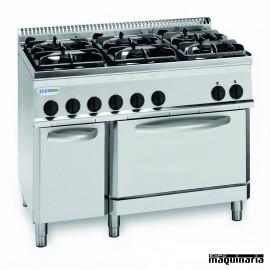 Cocina industrial a gas CLPF70G7 cuatro quemadores y horno industrial electrico