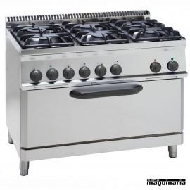 Cocina industrial a gas CLPFX105GG7 con 6 quemadores y horno fullsize