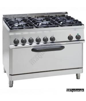 Cocina industrial a gas CLPFX105G7 con 6 quemadores y horno fullsize