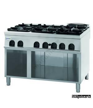 Cocina industrial a gas + modulo bajo CLPCG12FG9 con 6 quemadores