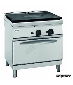 Cocina industrial a gas CLPPF8GG9 con placa de hierro y horno electrico