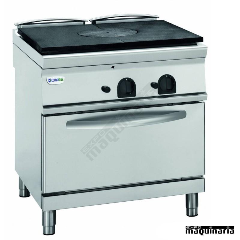 Cocina industrial a gas clppf8gg9 con placa de hierro for Cocinas con horno electrico