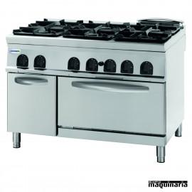Cocina industrial a gas CLPFG12G9 con 6 quemadores y horno electrico