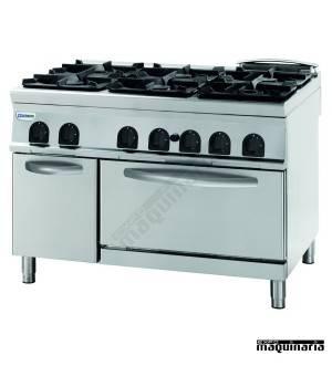 Cocina industrial a gas CLPFG12GG9 con 6 quemadores y horno industrial