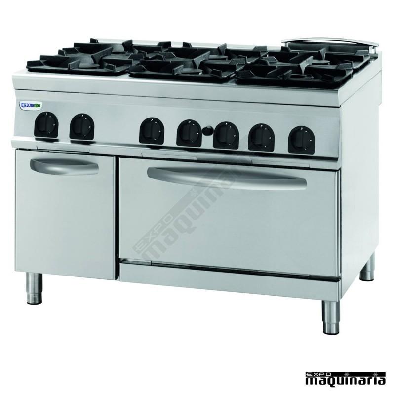 Cocina industrial a gas clpfg12gg9 con 6 quemadores y for Fogones industriales a gas