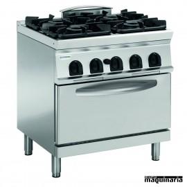 Cocina industrial a gas CLPFG8SGG9 con 4 quemadores y horno electrico