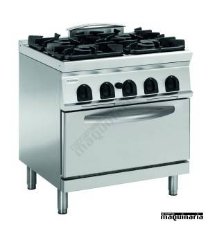 Cocina industrial a gas CLPFG8G9 con 4 quemadores y horno profesional