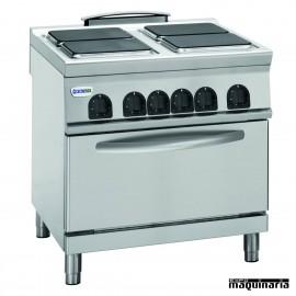 Cocina industrial electrica CLPF8E9 con 4 quemadores y horno