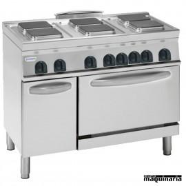 Cocina industrial electrica CLPF12E9 con 6 quemadores y horno