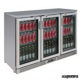 Nevera expositora bebidas NICE207 INOX 273 botellas 3 puertas pivotantes