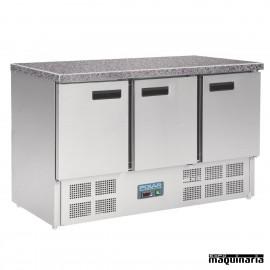 Mesas frias NICL109 cerrada INOX encimera de marmol 3 puertas