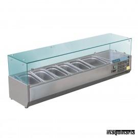 Vitrina para tapas refrigerada NIGD876 5 cubetas GN 1/3 y 1 GN1/2