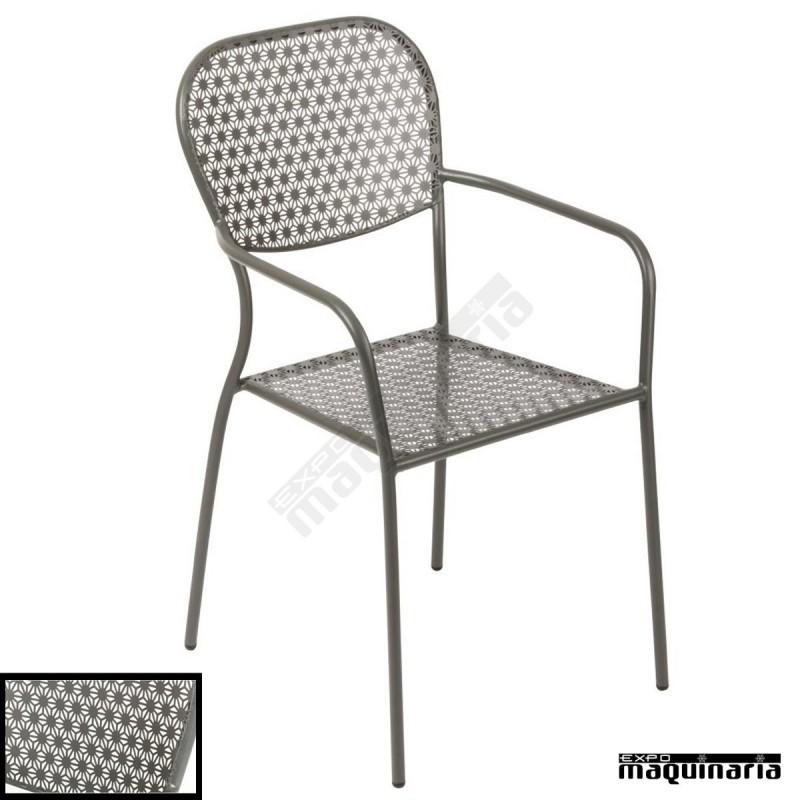Sillon terraza apilables en acero nigg671 como mobiliario for Sillon terraza