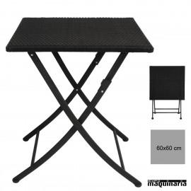 Mesa plegable de 60 cm NIGL302 imitación ratan