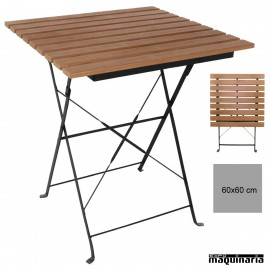 Mesa terraza plegable 60x60 cm imitacion madera NIGJ765