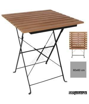 Mesa terraza plegable 60x60 cm imitacion madera NIGJ765 laminas plastico