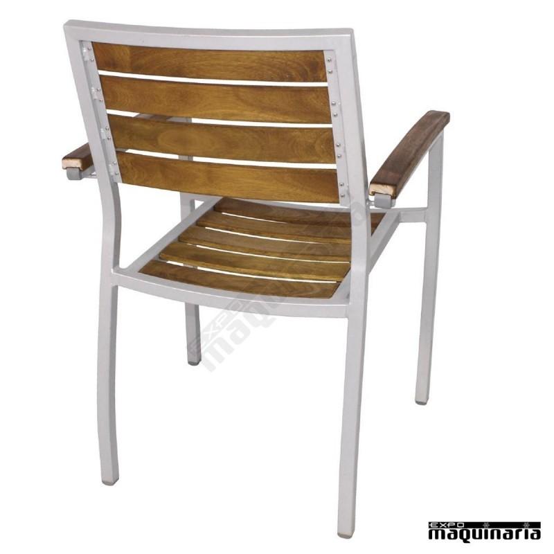 sillon terraza en aluminio y madera de teca niy820