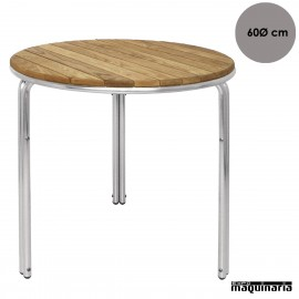 Mesa de terraza aluminio y fresno NIGL981 de 60 (Ø) cm