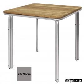 Mesa de terraza cuadrada aluminio y fresno NIGL982