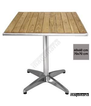 Mesa bar cuadrada aluminio y fresno NIU430