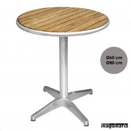 Mesa bar redonda aluminio y fresno NIU428 de 60/80 (Ø) cm