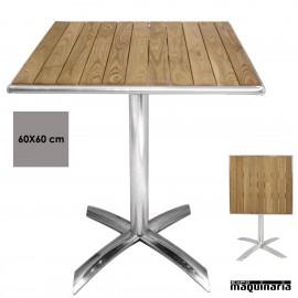 Mesa plegable cuadrada aluminio y fresno NIGK991