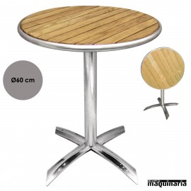 Mesa plegable redonda aluminio y fresno NIU424 de 60 (Ø) cm