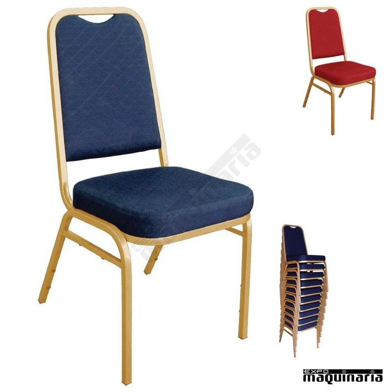 Sillas apilable de interior tapizada nidl015 sillas de for Sillas apilables salon
